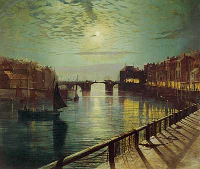 Whitby Harbor by Moonlight, Grimshaw (16X19)
