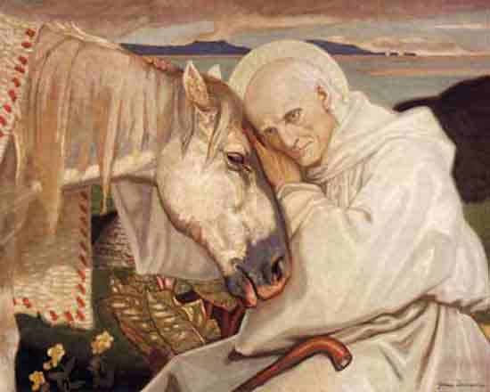 St Columba Bids Farewell to the White Horse (16X20)