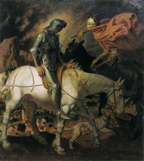 Don Quixote, Knight and Death,  Theodor Baierl (16X19)