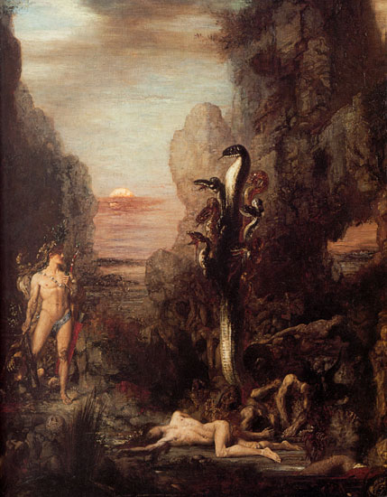 Hercules and the Hydra, Gustave Moreau (17.2X22)