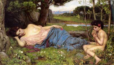 Listening to my Sweet Pipings, Waterhouse (16X28)