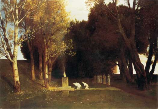 Girl and Boy Picking Flowers, Arnold Bocklin