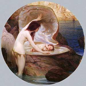 A Water Baby, Draper (16X16)